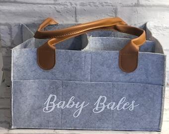 Personalised baby caddy, grey felt bag, nappy storage