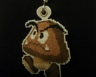 Goomba Cross Stitch Keychain