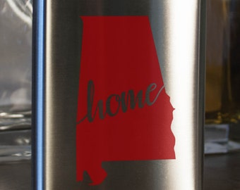 Alabama State Flask - Color and Customization options- Stainless Steel - perfect for gifts for friends, family, groomsmen, bridesmaids, etc.