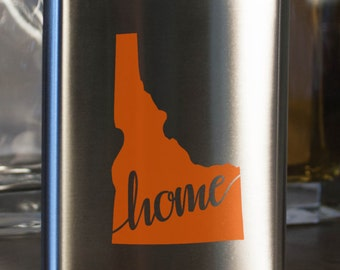 Idaho State Flask - Color and Custom options- Stainless Steel - perfect for gifts- friends, family, groomsmen, bridesmaids, etc.