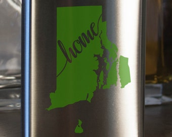 Rhode Island State Flask- Color and Custom options- Stainless Steel - perfect for gifts- friends, family, groomsmen, bridesmaids, etc.
