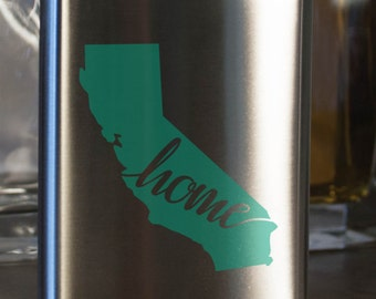 California State Flask - Color and Customization options- Stainless Steel - perfect for gifts- friends, family, groomsmen, bridesmaids, etc.