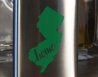 New Jersey State Flask- Color and Custom options- Stainless Steel - perfect for gifts- friends, family, groomsmen, bridesmaids, etc.