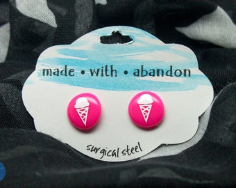 Ice Cream Cone Half-inch Stud Earrings - surgical steel - custom colors