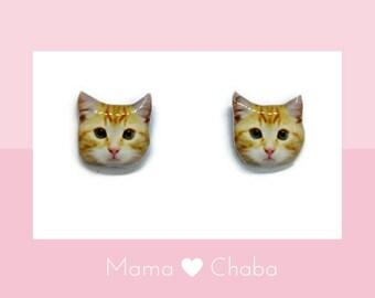 Tabby Cat earrings , Kitten,  Made in Australia, Cat Lover Gift,  Birthday Gift, Stud earrings