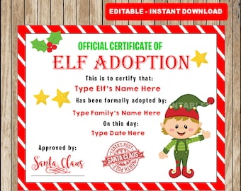 editable elf adoption certificate add family name and elfs name editable text type your own message christmas instant download - Christmas Elf Names