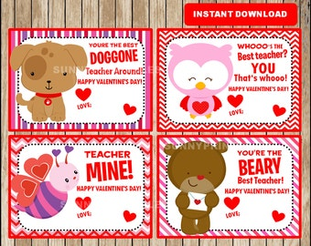 image relating to Printable Valentine Card for Teacher named Printable Adorable Animal Valentine Playing cards Be My Valentine playing cards