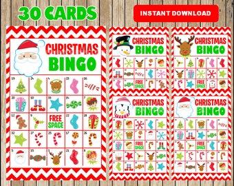 printable 30 christmas bingo cards printable christmas bingo game christmas printable bingo cards instant download - Printable Christmas Bingo