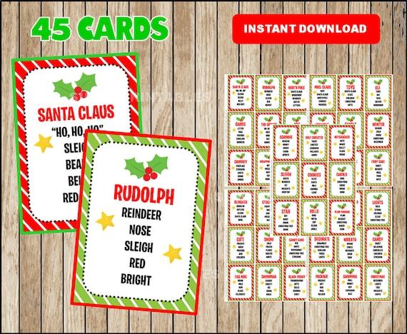 Christmas Taboo Printable Christmas Game Cards For Taboo Etsy
