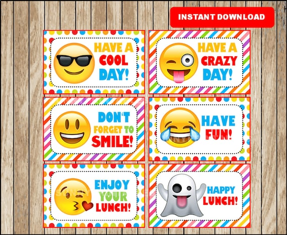 Printable Emoji Lunchbox Notes instant download, Emojis Lunch Box Notes,  Printable School Notes
