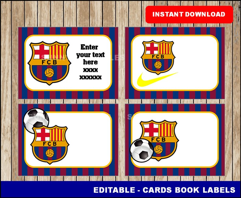 Fc Barcelona Stickers.Fc Barcelona Printable Cards Tags Book Labels Stickers Kids Cards Gift Tags Labeling Scrapbooking Type Your Own Text