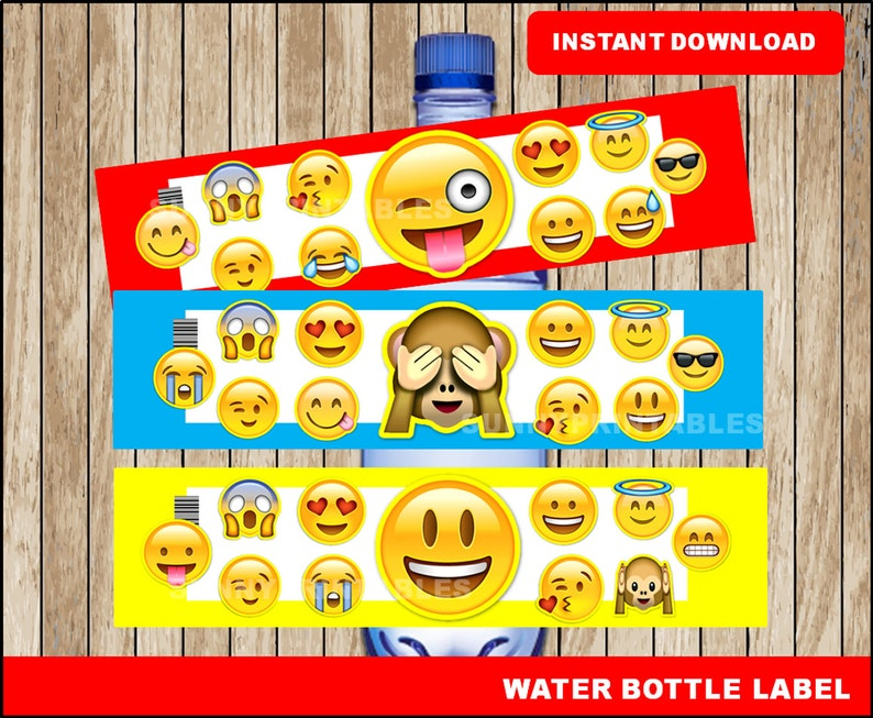 photograph relating to Printable Emojis named Emoji drinking water bottle labels; printable Emojis drinking water, Emoji bash h2o bottle quick obtain