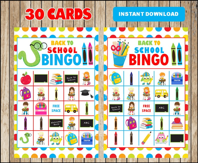 photo regarding Back to School Bingo Printable identify Printable 30 Again towards College Bingo Playing cards; printable Very first Working day of Higher education Bingo video game, Clroom printable bingo playing cards quick down load