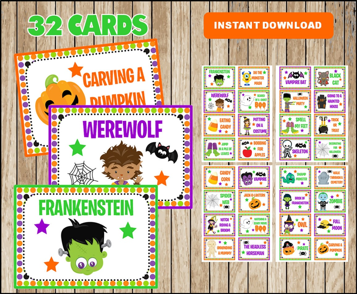 halloween charades party game idea pdf printable instant | etsy