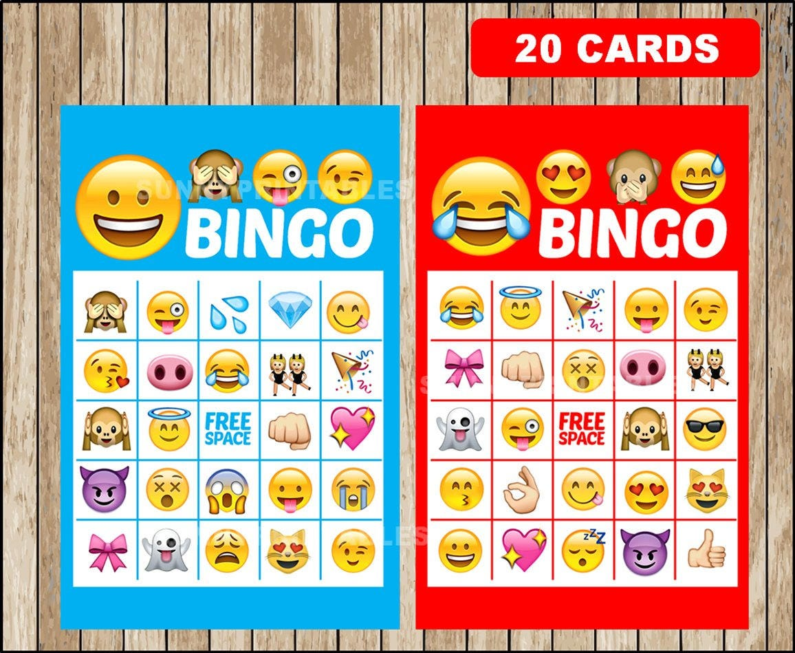 image about Printable Emoji Games called Printable 20 Emoji Bingo Playing cards; printable Emojis Bingo sport, Emoji printable bingo playing cards fast obtain
