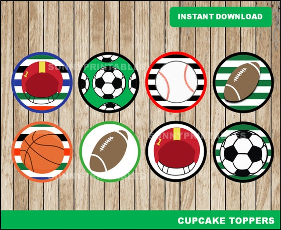 Sports cupcakes toppers printable Sports toppers Sports | Etsy