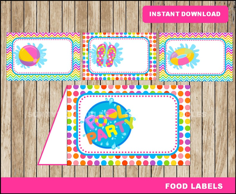 picture about Pool Party Printable referred to as Pool Social gathering foodstuff labels; printable Pool Get together tent playing cards, Pool Celebration Printable food items tent playing cards fast down load