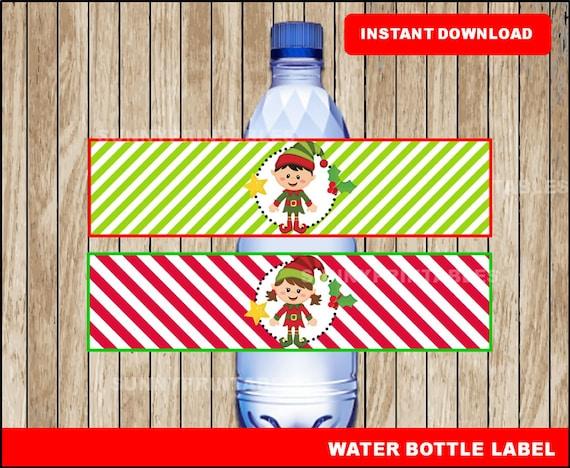 Elf Water Bottle Labels Printable Christmas Water Christmas Etsy