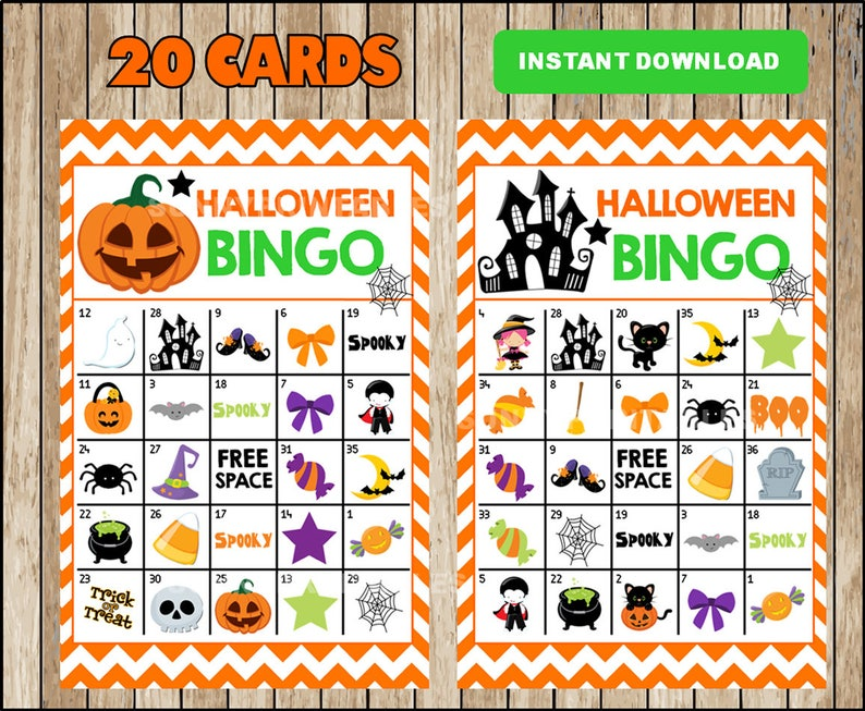 photo about Printable Halloween Bingo Card named Printable 20 Halloween Bingo Playing cards; printable Halloween Bingo activity, Halloween printable bingo playing cards fast down load