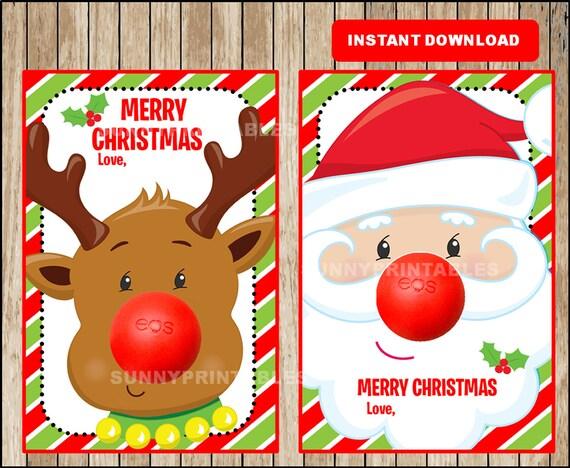 Eos Lip Balm Christmas Holiday Card Digital Printable Eos Lip Balm Holder Stocking Stuffer Fillers Neighbor Teacher Gifts Instant Download