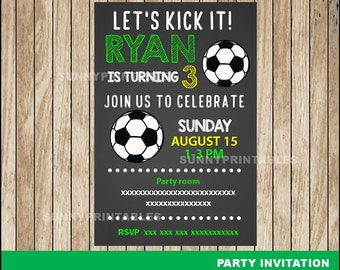 Soccer Chalkboard invitation; Chalkboard Soccer Birthday invitation, Soccer party Invitation Digital File