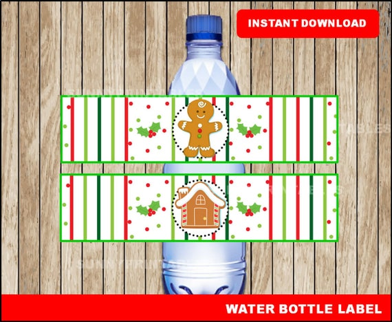 Gingerbread Water Bottle Labels Printable Christmas Water Etsy