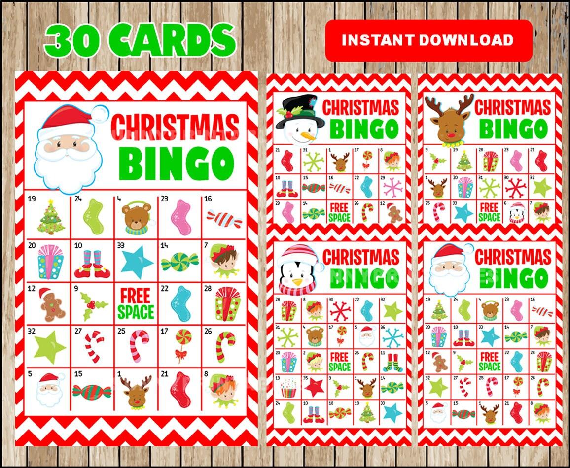 Printable 30 Christmas Bingo Cards printable Christmas Bingo | Etsy