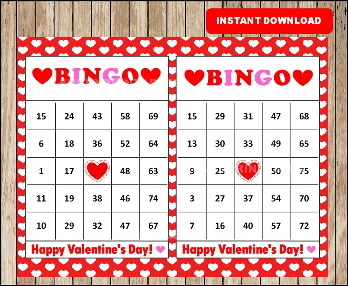 printable 30 valentine's bingo cards printable valentine