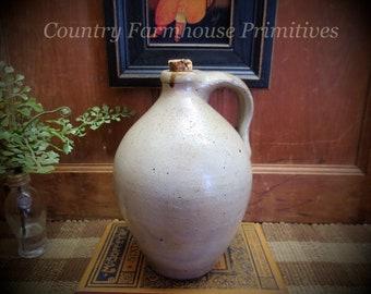 Primitive Antique Ovoid Stoneware Jug | Farmhouse Decor