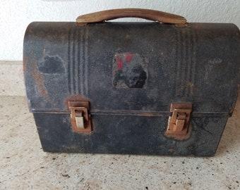 1950s black metal lunch box