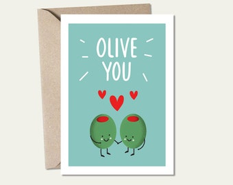 Friendship card Valentine/'s day card Olive you card Anniversary card Olive card OC021 Funny card for boyfriend -
