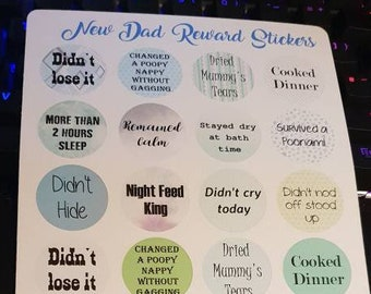 New Dad Reward Stickers, you deserve a sticker because being a parent is hard! Perfect for bullet journals, diaries, planners.