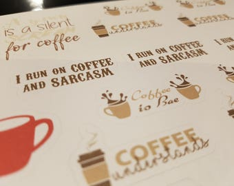 Coffee Stickers, show you love/addiction perfect for planners, diaries, bullet journal or any where else you'd like to stick them