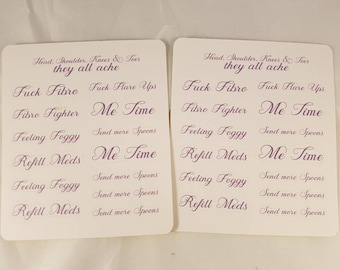 2 mini sheets Fibromyalgia stickers, contains swearing. For planners, diaries or anything else