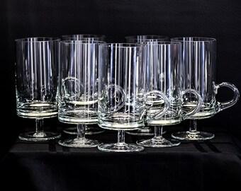 "6"" Clear Glass, Contemporary/European Design Coffee Mugs.  Set of 7."