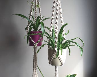 TRINITY Large  Macramé Plant Hangers//Triplicity Choose 1 or Set of 2 Natural White Boho Hippie Decor Retro 70s Plants Planter