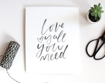 Love Is All You Need Hand-Lettered Print