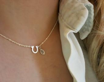Gold Horse Shoe necklace,Horse Necklace,U Necklace,minima necklace,Wedding necklace,Bridesmaid Gift,Mothers day Necklace,birthday gift
