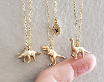 Triceratops, T-Rex, Brachiosaurus Necklace Dinosaur jewelry initial necklace mothers necklace Christmas birthday gifts Personalized Jewelry