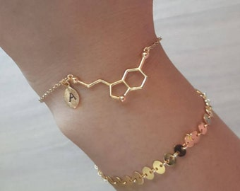 Delicate Serotonin Bracelets,Delicate Molecule Bracelet, birthstone,Initial coin bracelet,Thin Gold Chain,Layering Bracelet ,Bridesmaid Gift