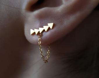 18k gold Arrow earrings,arrow ear climber,threader earring,arrow ear jacket,Bridesmaid Gift,Chain ear jacket