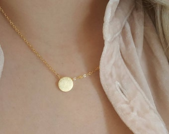 no silver Rose Gold or Gold Plated Stainless Steel Full Moon Circle Necklace