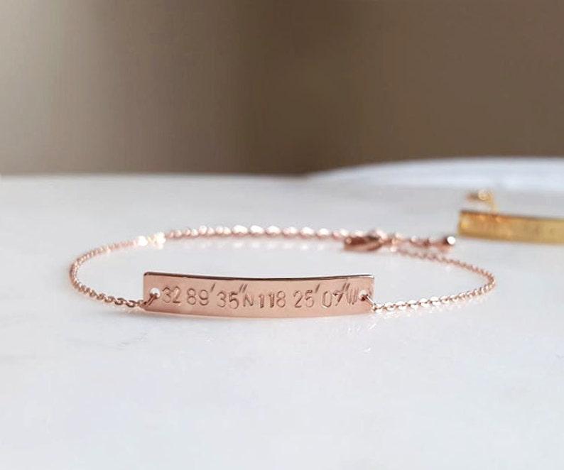 Coordinate Bracelet Bar Bracelet,Hand stamped Bracelet,Bridesmaid Gift,minimalist Rose Gold Coordinates bracelet,GPS Bracelet