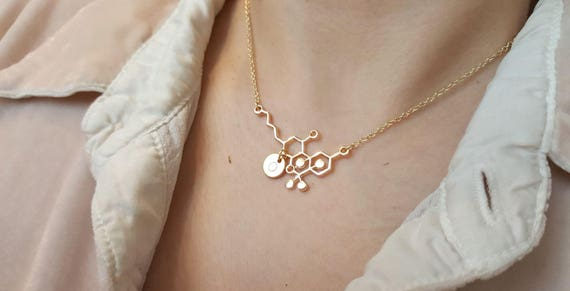 Hand Stamped Necklace chemistry necklace molecule necklace THC Necklace,THC molecule necklace Initial Disc Choker