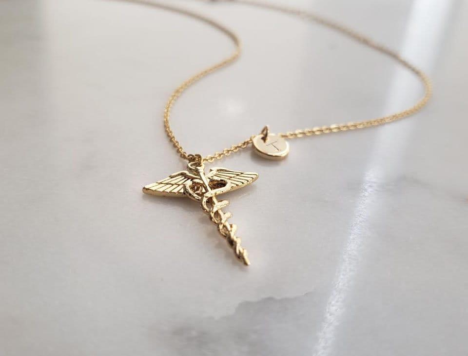 Caduceus Necklace-Caduceus Jewellery-Medical Jewellery-Medical Gift-Gift for Doctor-Gift for Nurse-Nurse Jewellery-Gift for Student
