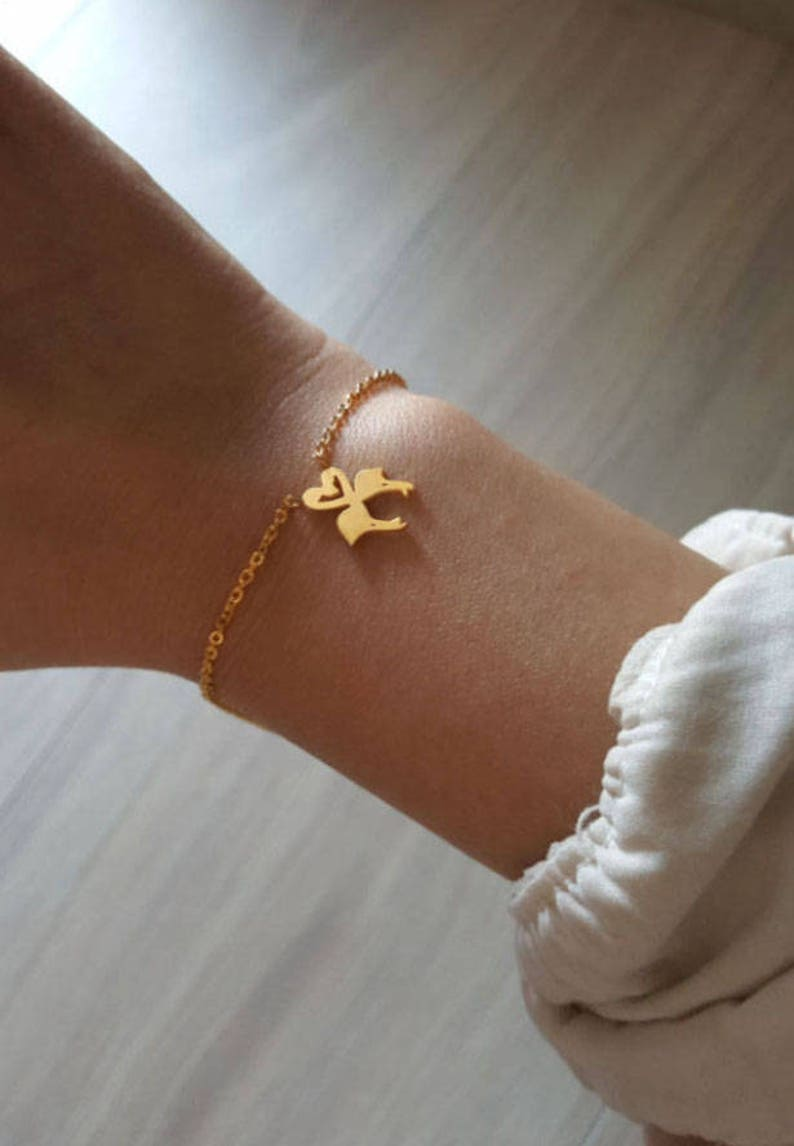 Layering Bracelet Delicate Petite Couple Flamingo Bracelets,Delicate bird Bracelet,flamingo bracelet,Thin Gold Chain Bridesmaid Gift