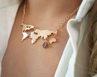 World map necklace etsy delicate world map necklaceworld necklacescity necklaceinitial coin necklaceslayering gumiabroncs Gallery