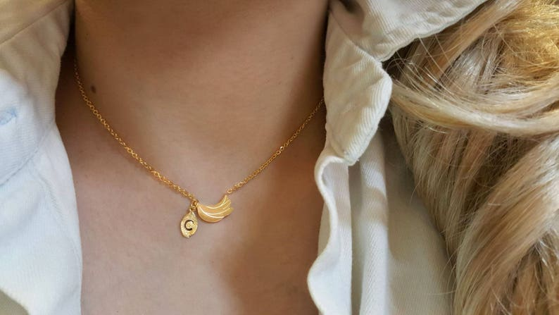 Bridesmaid Gift valued gift Delicate Petite Banana Necklace,Banana necklace,Layering necklace Tiny Necklace
