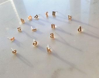 18k Gold Alphabet earring, Lower case stud earring, Alphabet stud, 925 Sterling silver post earring,Initial studs, Initial earrings