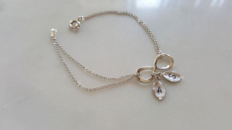 Christmas gift,infinit Initial Bracelet Initial coin bracelet,Bridesmaid Gift,birthday gift Dainty Infinity Bracelet with initial coin